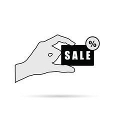 hand with sale card on white vector image vector image