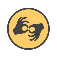 hands showing the deaf gesture vector image vector image
