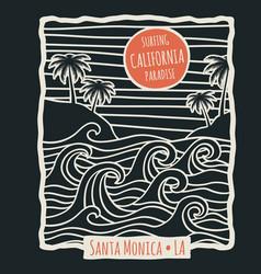 retro california summer beach surf t shirt vector image