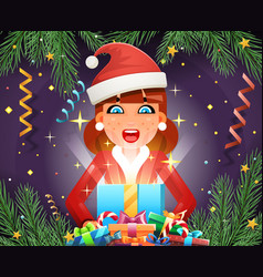 surprised cute girl hold light gift box hands new vector image