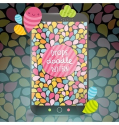 Cute doodle drops pattern on smart phone vector image vector image