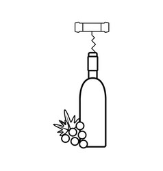 figure wine bottle with grape fruit and corkscrew vector image