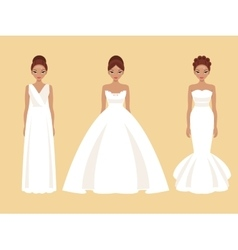 Girl in different wedding dresses vector image vector image