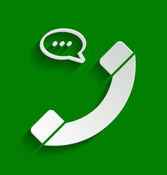 phone with speech bubble sign paper vector image vector image