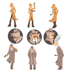 police detective and private investigator at work vector image vector image