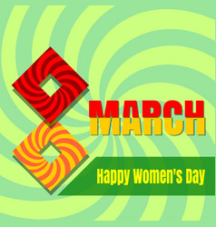 Retro womens day card 8th march vector