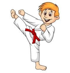 Boy cartoon doing martial art vector image