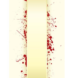 grunge paper background with curved tab and blood vector image vector image