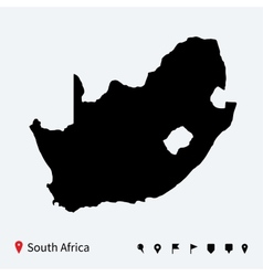High detailed map of South Africa with navigation vector image