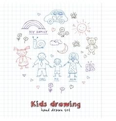 Kids Drawings doodle set Vintage for vector image