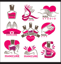 manicure salon and nails studio flat icons vector image vector image