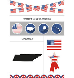 map of tennessee set of flat design icons vector image vector image