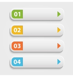realistic Web buttonsinfographic with numbers over vector image