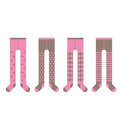 Set of girl tights with different designs vector