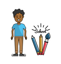 Student with his pencils and paint brush art vector