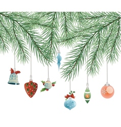 toys on Christmas tree vector image