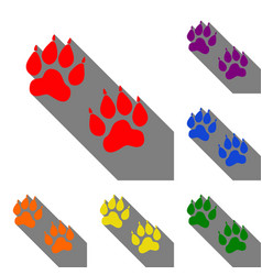 animal tracks sign set of red orange yellow vector image