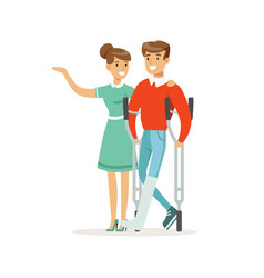 couple of young people man with broken leg vector image