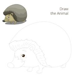 Draw the forest animal hedgehog cartoon vector image