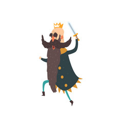 funny king character running with sword cartoon vector image vector image