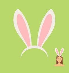 rabbit ears head accessory and girl vector image