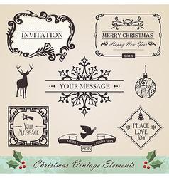 Vintage christmas elements set vector image