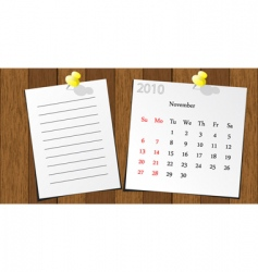 wood sticky calendar 2010 vector image vector image