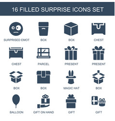 16 surprise icons vector image