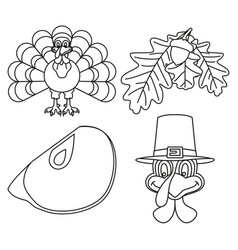 4 line art black and white thanksgiving elements vector