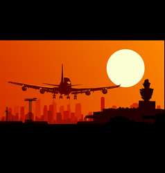 airport with flying plane vector image
