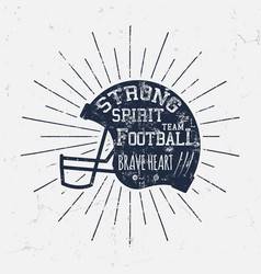 american football retro helmet label vector image