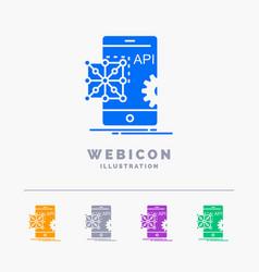 api application coding development mobile 5 color vector image