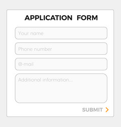 Application form template vector