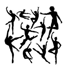 attractive male ballet dancer silhouettes vector image