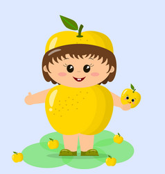 baby in the suit of a yellow apple vector image