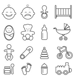 baby infant newborn and birth line icons vector image