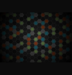 Black and colorful hexagons tech pattern design vector