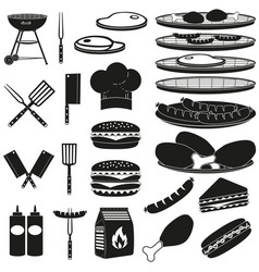 Black white bbq outdoors 23 element silhouette set vector