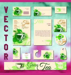 Business cards collection with tea concept design vector