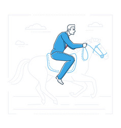 Businessman on horseback - line design style vector
