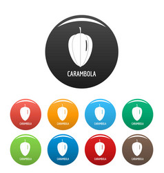 carambola icons set color vector image