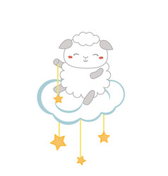 Cartoon sheep sitting on the cloud cartoon sheep vector