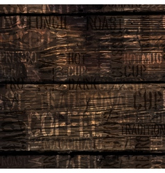 Coffee experience words on wooden texture vector