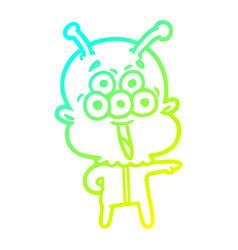 Cold gradient line drawing happy cartoon alien vector