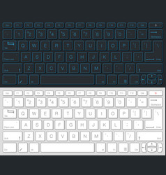 Computer keyboard isolated gray and white version vector