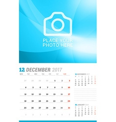 December 2017 Wall Monthly Calendar for 2017 Year vector image