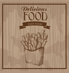 delicious food french fries fast food hand drawn vector image