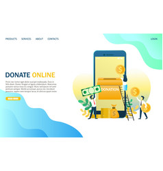 donate online website landing page design vector image