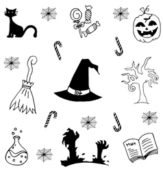 Doodle of candy and element halloween vector