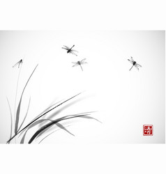 Dragonflies flying over grass traditional vector